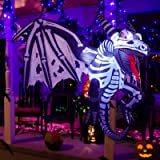 GOOSH 7 Foot Length Halloween Inflatable Hanging Big Wings Skeleton Dinosaur with Build-in Red Flashing Lights Blow Up Inflat