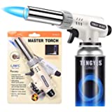 Kitchen Butane Blow Torch Lighter - Culinary Torch Chef Cooking Torches Professional Adjustable Flame with Reverse Use for Cr
