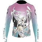 Raven Fightwear Women's Archangel Jophiel Rash Guard MMA BJJ Blue/Pink