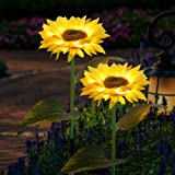FORUP 2 Pack Solar Garden Stake Lights, Outdoor Sunflower Lights, LED Solar Powered Lights for Patio Lawn Garden Yard Pathway