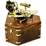 """Antique Nautical Premium Brass Polished 8"""" Sextant with Decorative Hand Crafted Wooden Box 