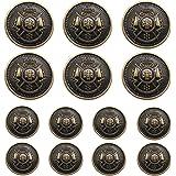 YaHoGa 14 Pieces Antique Metal Buttons 15mm 20mm Blazer Buttons Set for Blazers, Suits, Sport Coat, Uniform, Jackets (MB20170