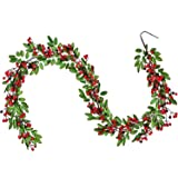 Lvydec Red Berry Garland Christmas Decoration - 6ft Artificial Greenery Garland with Red Berries and Green Leaves for Holiday