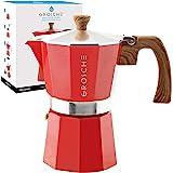 GROSCHE Milano Stovetop Espresso Maker Moka Pot 6 espresso Cup, 9.3 oz, Red - Cuban Coffee Maker Stove top coffee maker Moka