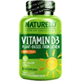NATURELO Vitamin D - 5000 IU - Plant Based - From Lichen - Best Natural D3 Supplement for Immune System, Bone Support, Joint