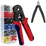 MTHKLO Crimping Tool Kit, Plier Set with Wire Cutter Plier&Plastic Potective Shell, Professional Self-Adjustable Ratchet Crim