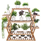 Flower Rack Plant Stand Indoor,Rolling Tiered Plant Stand Wooden Plant Ladder Shelves Plant Pot Display Stand for Home Balcon