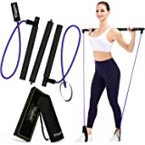 Viajero Pilates Bar Kit for Portable Home Gym Workout - 2 Latex Exercise Resistance Band - 3-Section Sticks - All-in-one Stre