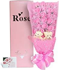 YOBANSA 造花 フレグランス ソープ フラワー プレゼント 花束 石鹸 薔薇 枯れない 花 バラ ブーケ プレゼント 結婚祝い 誕生日 母の日 父の日 定年祝い 還暦祝い 新築祝い 送別会 メッセージカード付,33本