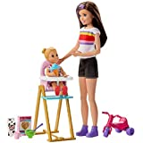 バービー(Barbie) おせわあそび バービー スキッパ―のベビーシッターおしょくじセット 【着せ替え人形】【ドール、アクセサリーセット】【3歳~】 GHV87