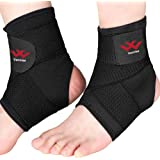 Ankle Brace, 1 Pair Ankle Compression Sleeve with Adjustable wrap, Stabiling Ligaments & Breathable Ankle Support for Injury