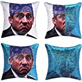 cygnus The Office Prison Mike Flip Sequin Pillow Cover,Magic Reversible Throw Pillow Case Change Color Decorative Pillowcase