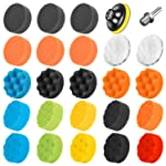 SPTA Car Polishing Sponge, 25Pcs Polishing Pads Set, 3 Inch 80mm Car Buffing Pads and Wool Polishing Pads with M14 Drill...