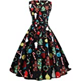 2021 New Years Dresses for Women Sleeveless Vintage Cocktail Dress Funny Printed Holiday Swing Party Dress