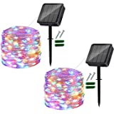 Solar String Lights Outdoor, 2 Pack 120LED Solar Garden Lights Waterproof 12M/40Ft 8 Modes Indoor/Outdoor Fairy Lights Copper