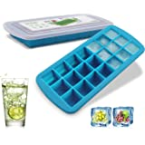 Silicone Ice Cube Mold Trays BPA Free - 21 Ice Trays with Removable Lid Food Grade Ice Mold Freezer Tray for Whiskey, Bourbon