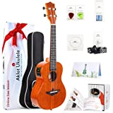 "Aklot Electric Tenor Ukulele 26"" Uke Solid Mahogany Ukelele For Professional Beginners With Free Online Lesson Uke(Bag Picks"