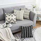 WLNUI Set of 4 Pillow Covers,18x18 Pillow Covers Modern Throw Pillow Covers Coffee Boho Geometric Mudcloth Cotton Linen Neutr