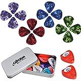 Qoosea Guitar Picks 40pcs with 2pcs Pick Holders & Metal Pocket Box Guitar Plectrums for Electric Acoustic Bass Guitar includ