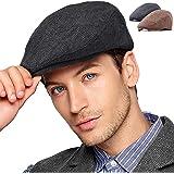 LADYBRO Men Newsboy Cap Ivy Hat - 30% Wool Cabbie Hat for Men Irish Tweed Flat Cap 2Pack