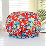 Mold Resistant Lined Shower Cap -Auma Bath Cap Designed for Women Spa, Waterproof Double Layer Shower Caps,Home Use, Hotel an