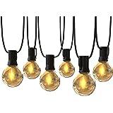 【Amazon限定ブランド】ストリングライト 防雨型 11.5m 連結可能 24個LED電球 G40 電球色 E12口金 PC素材 破損しにくい 屋内屋外 ガーデンライト 誕生日 結婚式 パーティー電飾