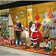 LONGTEN Christmas Windows Static Stickers Clings Santa Claus Snowman Deer Snowflake Removable Vinyl Christmas Tree DIY Window