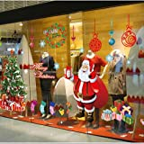 LONGTEN Christmas Windows Static Stickers Clings Santa Claus Snowman Deer Snowflake Removable Vinyl Christmas Tree DIY Window