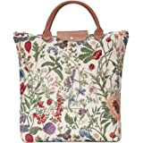 Light Floral Foldable Reusable Grocery Shopping Bag with Sunflower Poppy Butterfly Dragonfly by Signare (FDAW-MGD)