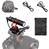 BOYA by-mm1 Universal Video Microphone with Shock Mount, Deadcat Windscreen, Case for iPhone, Android Smartphones, Canon EOS,
