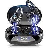 Bluetoothイヤホン ワイヤレスイヤホン 【2021年度版 】 Bluetooth5.0スポーツ仕様 耳掛け式Hi-Fi 低遅延 LED残量表示 CVC8.0ノイズキャンセリングAAC対応自動ペアリング 瞬間接続 最大32時間連続再生ハンズフリ