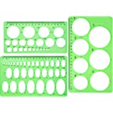Hestya Circle Template 3 Pieces Plastic Circle and Oval Templates Measuring Templates Rulers Digital Drawing for Office and S