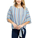 OLIVE LEAF Women's Shirts Blouse - Casual Short Sleeve Crew Neck Striped Tie Front Knot Summer Tshirt Tunic Tee Tops