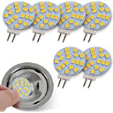JAUHOFOGEI G4 Disc LED Bulbs 12V AC/ 10-24V DC, 20W Type T3 Glass Halogen Bulb Replacement Bi Pin Base for Recessed Puck Ligh