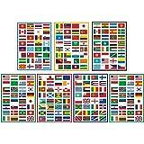 Sourcemall PVC製 防水 世界の国旗 シール ステッカー ラベル旅行ステッカー 7PCSセット 合計224枚