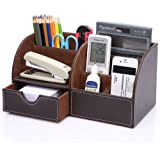 KINGOM 7 Storage Compartments Multifunctional PU Leather Office Desk Organizer,Desktop Stationery Storage Box Collection, Bus