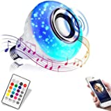 Bluetooth Light Bulb with Speaker, Smart LED Music Play Bulb with 24 Keys Remote Control 12W Power E26 Base Changing Color La