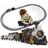 iHaHa Electric Train Set for Kids with Sound Light, Battery-Powered Train Toys with Locomotive Engine, 3 Cars and 10 Tracks,