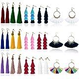 Tassel Earrings for Women Fashion - 15 Pack Colorful Drop Hook Fringe Earrings Set Tiered Thread Long Layered Ball Dangle Hoo