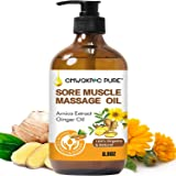 Sore Muscle Massage Oil, 250ml Arnica Oil, 100% Natural Massage Oil with Arnica Extract and Ginger Oil-Warming and Relaxing