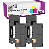 Limeink 2 Black Compatible High Yield Toner Cartridges Replacement for Dell 1250 Laser Printers 1250c 1350cnw 1355cn 1355w 13