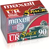 Maxell 108562 UR-90 5PK Normal Bias Audio Cassettes 90 Minute with Cases 5 Pack