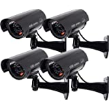 Outdoor Fake Security Camera, Dummy CCTV Surveillance System with Realistic Red Flashing Lights and Warning Sticker (4, Black