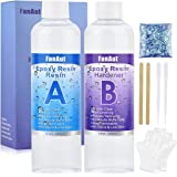 FanAut Epoxy Resin Crystal Clear for Art, Crafts, Tumblers, Casting Jewelry Making 18.5 Ounce with 2 Droppers, 2 Sticks,1 Pai