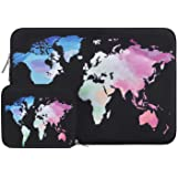 MOSISO Water Repellent Neoprene Sleeve Bag Cover Compatible with 13-13.3 inch Laptop with Small Case, Black World Map