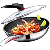 Megoo Stainless Steel 12 Inch Frying Pan With Glass Lid,Nonstick Flat Fry Pan With New Handle Design,Saute Pan With Multi-Lay
