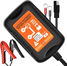AIMTOM 6 V/12V用 1.5A バッテリー充電器 バッテリーチャージャー メンテナンス充電器 5-40Ah全自動充電/逆接続/ショート/過電圧/電流保護 4段階LED表示 自動車/電動自転車/バイク/カーバッテリー用(黒) 日本語取扱説明書付き