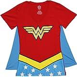 DC Comics Girl's Wonder Woman Glitter Juniors V-Neck Tee