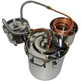OLizee 5 Gal Stainless Steel Water Alcohol Distiller Copper Tube 18L Moonshine Still Spirits Boiler Home Brewing Kit with Thu