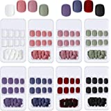 192 Pieces Short False Nails Square Matte False Nail Press on Colorful Acrylic Nails Full Cover Coffin Fake Nail for Women an